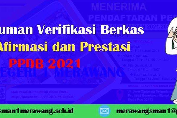 Hasil Verifikasi Berkas Jalur Afirmasi dan Prestasi PPDB 2021